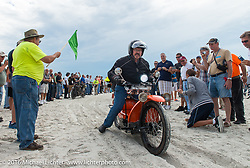 The 1923 Neracar being passes through the start on the sands of Daytona Beach at the beginning of stage 1 of the Motorcycle Cannonball Cross-Country Endurance Run, which on this day ran from Daytona Beach to Lake City, FL., USA. Friday, September 5, 2014.  Photography ©2014 Michael Lichter.