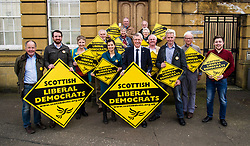 Pictured: <br /> Scottish Liberal  Party leader Willie Rennie joined with local candidates and supporters in Mussleburgh today as part of a whistle stop tour to launch the Scottish Liberal Democrates manifesto for the upcoming council elections<br /> <br /> Ger Harley   EEm 28 February 2017