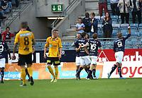 Tippeligaen 18 runde.<br /> Viking FK - Lillestrøm SK. 03.08.2013<br /> Viking Stadion, Stavanger, Norge.<br /> <br /> Foto. Simon Rogers, Digital Sport.<br /> <br /> Viking. Patrik Ingesten, Benjamin Sulimani, Indridi Sigurdsson.<br /> Lillestrøm.