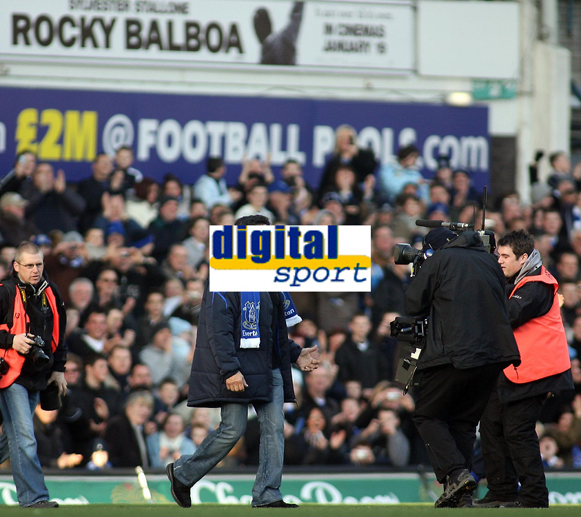Photo: Paul Thomas.<br /> Everton v Reading. The Barclays Premiership. 14/01/2007.<br /> <br /> Sylvester Stallone walks out at Everton v Reading before the game.