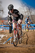 SHOT 1/12/14 12:52:04 PM - Austin Vincent (#61) of Simsbury, Conn. competes in the Men's Junior 17-18 race at the 2014 USA Cycling Cyclo-Cross National Championships at Valmont Bike Park in Boulder, Co. Vincent finished third in the race. (Photo by Marc Piscotty / © 2013)