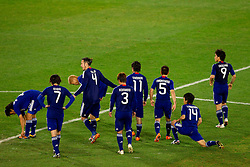 Team of Japan preparing for the penalty shots after 0-0 in overtime during the 2010 FIFA World Cup South Africa Round of Sixteen football match between Paraguay and Japan on June 29, 2010 at Loftus Versfeld Stadium in Tshwane/Pretoria. (Photo by Vid Ponikvar / Sportida)