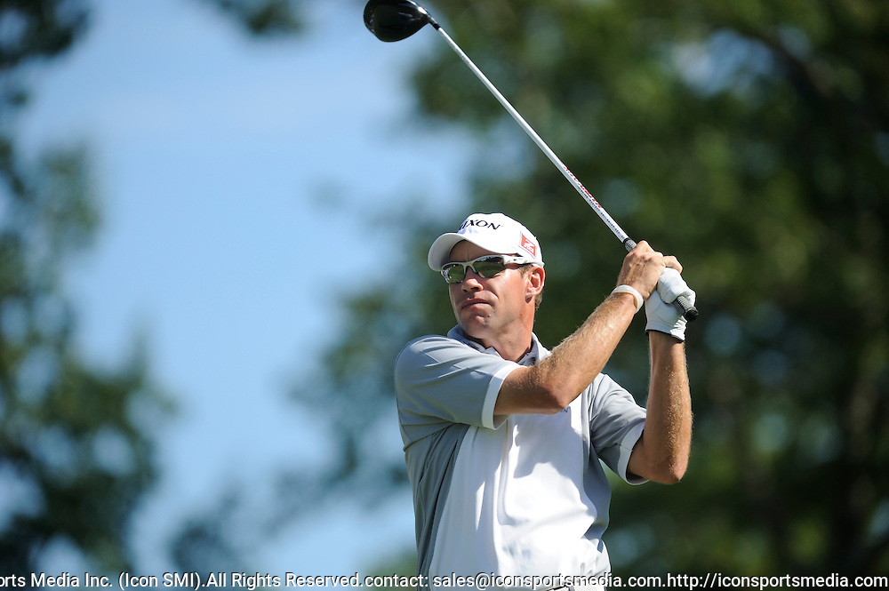 04 September 2010:  Brian Davis tees off on the 10th during the Deutsche Bank Championship 2nd Round at TPC Boston in Norton, MA