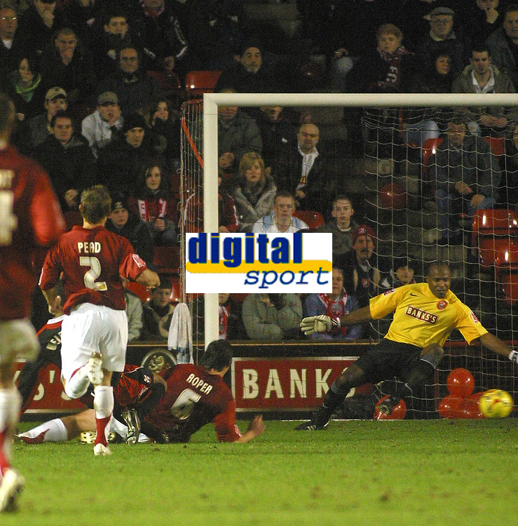 Photo: Dave Linney.<br />Walsall v Lincoln City. Coca Cola League 2. 16/02/2007.<br />Lincoln's Spencer Weir- Daly(Hidden) makes it 2-1.