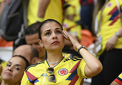 SARANSK, June 19, 2018  A fan of Colombia reacts after a Group H match between Colombia and Japan at the 2018 FIFA World Cup in Saransk, Russia, June 19, 2018. Japan won 2-1. (Credit Image: © Lui Siu Wai/Xinhua via ZUMA Wire)