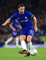 """Chelsea's Danny Drinkwater during the Carabao Cup Semi Final, First Leg match at Stamford Bridge, London. PRESS ASSOCIATION Photo. Picture date: Wednesday January 10, 2018. See PA story SOCCER Chelsea. Photo credit should read: Mike Egerton/PA Wire. RESTRICTIONS: EDITORIAL USE ONLY No use with unauthorised audio, video, data, fixture lists, club/league logos or """"live"""" services. Online in-match use limited to 75 images, no video emulation. No use in betting, games or single club/league/player publications."""