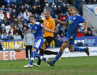 Photo: Steve Bond/Richard Lane Photography. <br />Leicester City v Hull City. Coca Cola Championship. 21/03/2008. Caleb Folan (C) watches his shot enter the net for goal no2