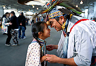 Bay Area residents Ellie Madril, 6, and her father, Eddie Madril, gracefully compete in the potato dance during the Two-Spirit Powwow at the Festival Pavilion at Fort Mason in San Francisco, Calif., on Saturday, February 2, 2019. The event was hosted by the Bay Area American Indian Two-Spirits (BAAITS).