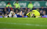 Maarten Stekelenburg and Leighton Baines of Everton lie injured during the English Premier League match at Goodison Park, Liverpool. Picture date: December 19th, 2016. Photo credit should read: Lynne Cameron/Sportimage
