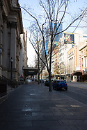 An eerie view of an empty Collins Street during COVID-19 in Melbourne, Australia. Hotel quarantine linked to 99% of Victoria's COVID-19 cases, inquiry told. This comes amid a further 222 new cases being discovered along with 17 deaths. Melbourne continues to reel under Stage 4 restrictions with speculation that it will be extended. (Photo by Dave Hewison/Speed Media)