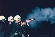 Detroit, MI.1967/07/25 Detoirt police use tear gas during the Detroit Riots.<br />Photo by Dennis Brack