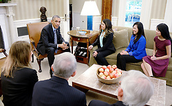 United States President Barack Obama meets Nina Pham of Dallas, Texas, the first nurse in the United States diagnosed with Ebola, flanked by mother Diana and sister Cathy and medical staff, in the Oval Office of the White House October 24, 2014 in Washington, DC. Earlier in the day, Pham was declared 'free of Ebola' at a press conference at the National Institutes of Health. EXPA Pictures © 2014, PhotoCredit: EXPA/ Photoshot/ Olivier Douliery<br /> <br /> *****ATTENTION - for AUT, SLO, CRO, SRB, BIH, MAZ only*****