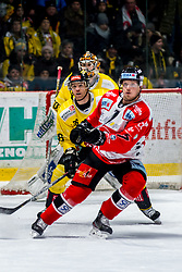 30.12.2019, Ice Rink, Znojmo, CZE, EBEL, HC Orli Znojmo vs Vienna Capitals, 33. Runde, im Bild v.l. Mark Flood (spusu Vienna Capitals) Ryan Zapolski (spusu Vienna Capitals) Robert Flick (HC Orli Znojmo) // during the Erste Bank Eishockey League 33th round match between HC Orli Znojmo and Vienna Capitals at the Ice Rink in Znojmo, Czechia on 2019/12/30. EXPA Pictures © 2019, PhotoCredit: EXPA/ Rostislav Pfeffer