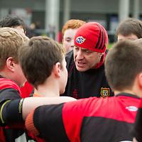 Ennis Coach Nigel Moloney giving a team talk at half time