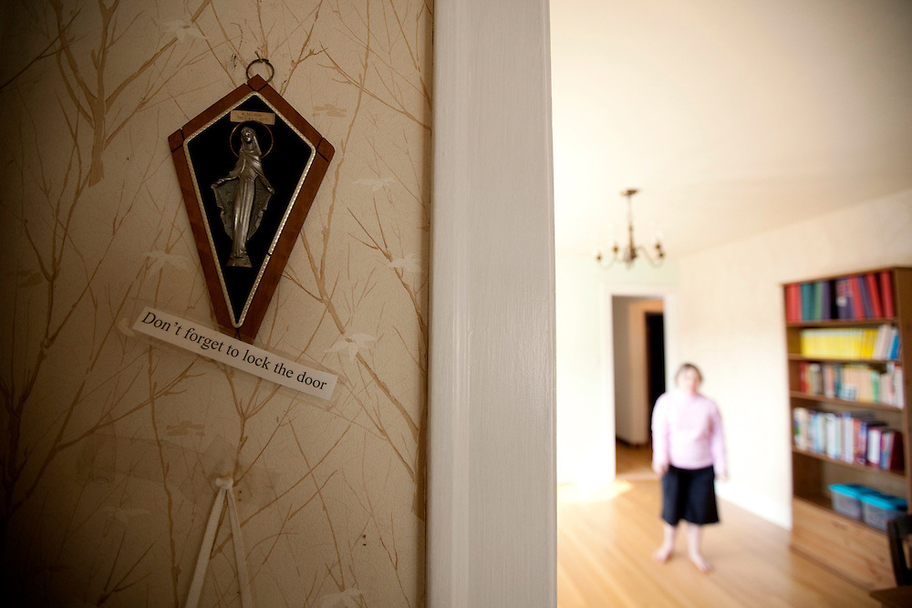 A reminder to lock the door hangs on the wall at the home of Mary Beth Solinski...Aging adults with Down Syndrome. In 1983, people with Down syndrome could expect to live to age 25. Today, their life expectancy is 60 years. We interview a 59-year-old patient who has outlived her parents and is now in AARP. She has trouble walking, but has lots of interests, such as cooking, arts and crafts and reading. .