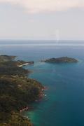 The island of Bom Bom from the air, Principe, Sao Tome and Principe