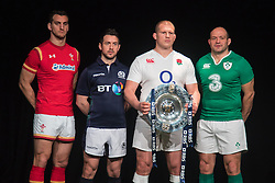 Hurlingham Club, London, January 27th 2016. Captains Sam Warburton - Wales, Greig Laidlaw - Scotland, Rory Best - Ireland, Dylan Hartley - England  line up at the launch of the RBS Six Nations Rugby Tornament. ///FOR LICENCING CONTACT: paul@pauldaveycreative.co.uk TEL:+44 (0) 7966 016 296 or +44 (0) 20 8969 6875. ©2015 Paul R Davey. All rights reserved.