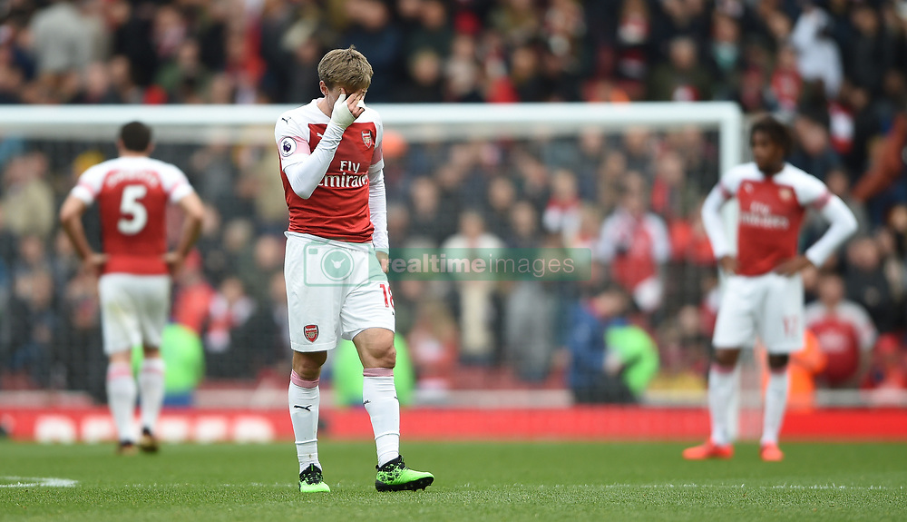 Arsenal's Nacho Monreal shows dejection at full time