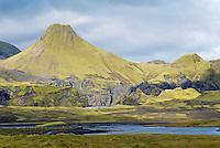 Islande. Region volcanique de Lakagigar. Volcan Laki. // Iceland. Volcanic area of Lakagigar. Laki volcano.
