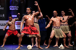 Maori dancers perform a Haka during the weigh in at the Motorpoint Arena, Cardiff.