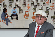© Licensed to London News Pictures. 14/05/2015. London, UK David Hockney at a photocell for his exhibition of paintings and photography at the Annely Juda Fine Art gallery in central London today 14th May 2015. Photo credit : Stephen Simpson/LNP