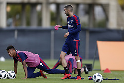 (L-R), David Neres of Ajax, Hakim Ziyech of Ajax during a training session of Ajax Amsterdam at the Cascada Resort on January 10, 2018 in Lagos, Portugal