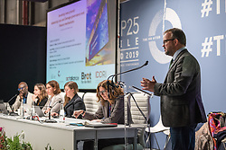 12 December 2019, Madrid, Spain: Richard J.T. Klein from the Stockholm Environment Institute speaks at a side-event on Breaking new ground: Advancing loss and damage governance and finance mechanisms, at COP25.