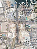 Aerial view of modern towers in downtown Dubai, U.A.E.