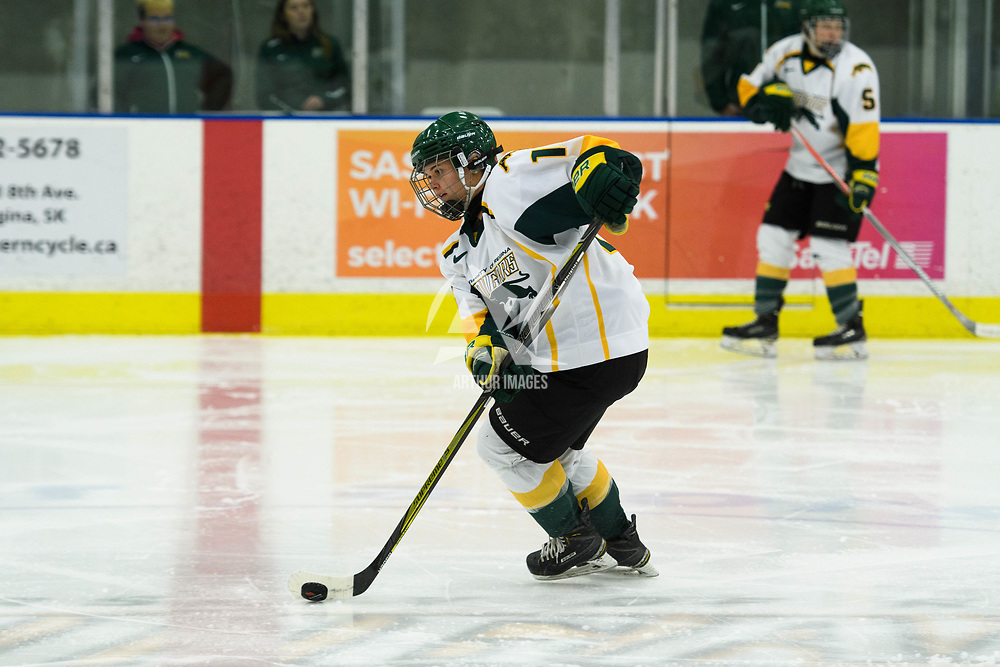2nd year defence man Kaitlyn Crowe (16) of the Regina Cougars in action during the Women's Hockey home game on October 14 at Co-operators arena. Credit: Arthur Ward/Arthur Images