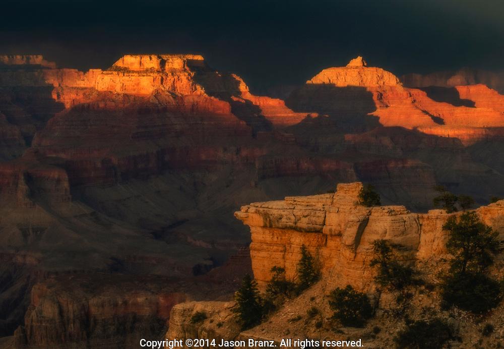Summer thunderstorm and interesting shadows, Grand Canyon National Park, Arizona.