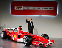 Ferrari chairman Luca Cordero di Montezemolo during the official presentation of the new F2005 F1 car at the team's headquarters in Maranello.<br /> <br /> <br /> <br /> Luca Cordero di Montezemolo durante la presentazione della nuova Ferrari F2005.<br /> <br /> <br /> <br /> Photo Munch / Graffiti