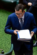 An embattled Premier Daniel Andrews enters the chamber amid a Branch Stacking Scandal within his party during Question Time. Government in Crisis as secret tapes reveal industrial scale branch stacking and corruption accusations towards labor senior Minister Adem Somyurek, along with two other ministers Marlene Kairouz and Robin Scott. Premier Daniel Andrews sacked Mr Somyurek and both Ms Kairouz and Mr Scott later resigned. Premier Andrews denies any knowledge of the of the scandal and repercussions will ripple all the way up to the Federal Labor Party. (Photo by Dave Hewison/ Speed Media)