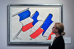 """© Licensed to London News Pictures. 28/06/2017. London, UK.  """"Untitled"""", 1975, by Alexander Calder, gouache and ink representations of the French tricolor. Preview day at Masterpiece London, a leading art fair held in Chelsea, bringing together 150 international exhibitors presenting works from antiquity to the present day.  The event runs 29 June to 5 July 2017.   Photo credit : Stephen Chung/LNP"""