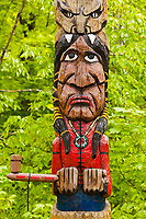 inidian totem sacaomie lake in quebec canada