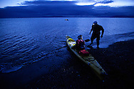 Sam Salwei (US) and Taz  Lawrie (NZ) of Team Four Continents prepare to cross the Strait of Magellan on February, 14 during the first kayaking leg of the 2012 Patagonian Expedition Race.