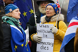 © Licensed to London News Pictures. 22/01/2020. London, UK. A Pro-European protester holds a sign 'When politicians lie, Democracy dies' as anti-Brexit campaigners demonstrate outside Houses of Parliament with nine days to  Brexit Day. Photo credit: Dinendra Haria/LNP