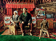 Rus Bosara, the oldest eagle hunter competitor in Western Mongolia - his son and grand son are eagle hunters as well. Portrayed in his yurt with his wife Rus Alda.<br /> <br /> Eagle Hunting festival in Western Mongolia, in the province of Bayan Olgii. Mongolian and Kazak eagle hunters come to compete for 2 days at this yearly gathering. Mongolia