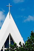 The steeple on the top of St. Augustine Church in Waikiki, Hawaii.