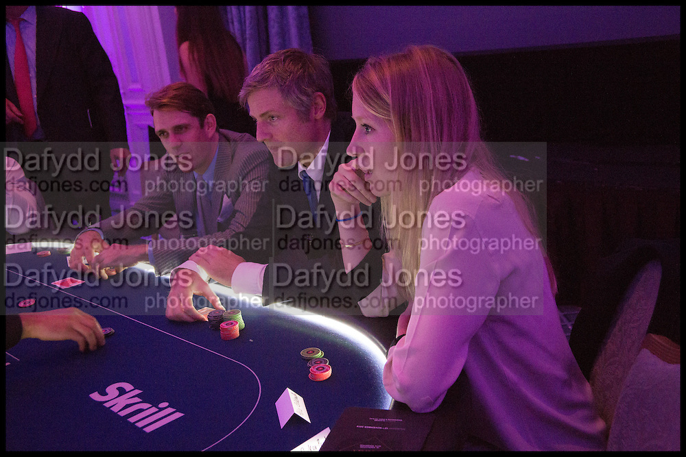 BEN ELLIOT; ZACH GOLDSMITH; ALICE GOLDSMITH, Quintessentially Foundation Poker Night,  annual poker night,  to raise money for Right to play, Greenhouse and Place2Be. Savoy. 13 November 2014.