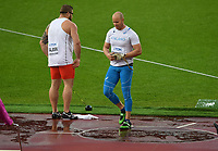 Athletics - 2017 IAAF London World Athletics Championships - Day Six<br /> <br /> Men's Hammer Qualification<br /> <br /> David Soderberg (Finland) with Pawel Fajdek of Poland, at the London Stadium.<br /> <br /> COLORSPORT/ ANDREW COWIE