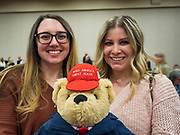 16 JANUARY 2020 - DES MOINES, IOWA: Women with a Donald Trump teddy bear wearing a Make America Great Again hat at the Women for Trump rally in Airport Holiday Inn in Des Moines. About 200 women attended the event, which featured Lara Trump, Mercedes Schlapp, and Kayleigh McEnany, surrogates on the campaign trail for President Donald Trump.        PHOTO BY JACK KURTZ