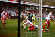 GOAL! For Stevenage against Barrow as Luke Norris scores during the EFL Sky Bet League 2 match between Stevenage and Barrow at the Lamex Stadium, Stevenage, England on 27 March 2021.