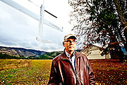 John Stafford, leads the FlexRotor design team at Aerovel.  Seen in the background is FlexRotor, a pilotless drone aircraft.