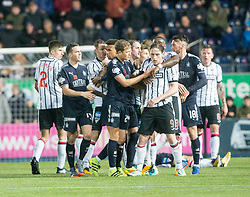 Dunfermline's Declan McManus (9) gets a red card. Falkirk 1 v 1 Dunfermline, Scottish Championship game played 4/5/2017 at The Falkirk Stadium.
