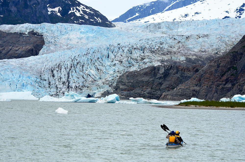 Sea kayaking below the Mendenhall Glacier in Southeast Alaska.