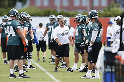 Philadelphia Eagles Offensive Line Coach Jeff Stoutland is seen during the NFL football training camp in Philadelphia, Saturday, July 27, 2013. (Photo by Brian Garfinkel)