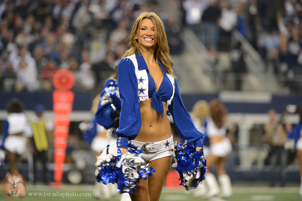 November 28, 2013; Arlington, TX, USA; Dallas Cowboys Cheerleader Katy Marie Fink performs during the third quarter on Thanksgiving against the Oakland Raiders at AT&T Stadium. The Cowboys defeated the Raiders 31-24.