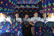 """Dae Hwan Kim, Kamma Bantam weight champion, and his team in the coach on their way to the Stadium<br /><br />MMA. Mixed Martial Arts """"Tigers of Asia"""" cage fighting competition. Top professional male and female fighters from across Asia, Russia, Australia, Malaysia, Japan and the Philippines come together to fight. This tournament takes place in front of a ten thousand strong crowd of supporters in Pelaing Stadium. Kuala Lumpur, Malaysia. October 2015"""