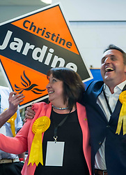 Pictured: Christine Jardine celebrates with Alex Cole Hamilton<br /> The Edinburgh Count and  announcements ended  around 4:30 this morning with weary heads around all parties.<br /> <br /> Ger Harley   EEm 9 June 2017