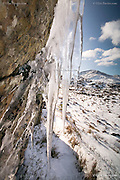 Icicles forming out of cracks in snowy mountain rock in winter at Mynydd Sygyn, Beddgelert, Snowdonia, North Wales.